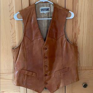 Vintage 1970s Stetson leather vest